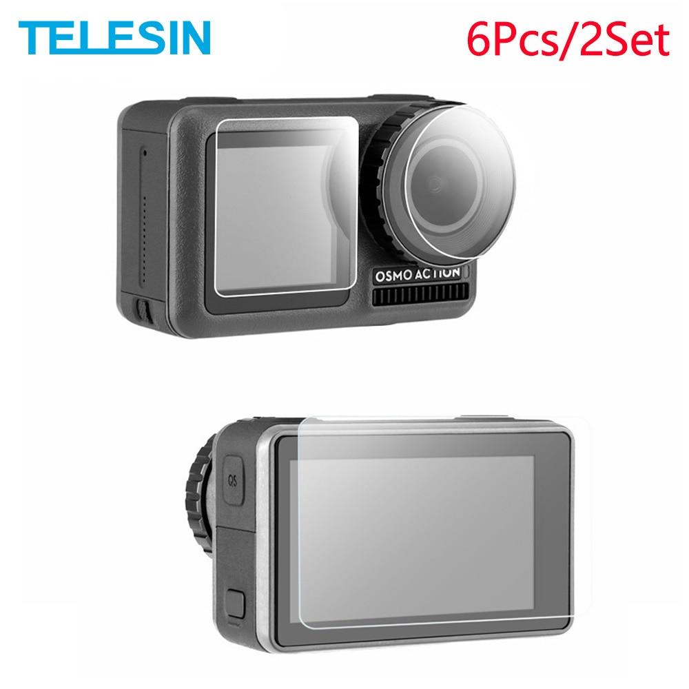 TELESIN-protector de pantalla de vidrio templado para cmara deportiva, pelcula protectora para DJI OSMO Action, 6 unidades