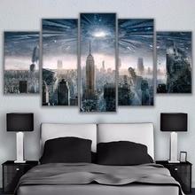 Peinture sur toile dart murale   Tableau modulaire, décoration de la maison, affiche 5 panneaux ville de New York pour salon, Type dimpression moderne