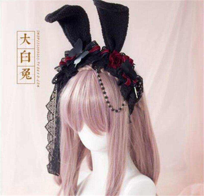 Lolita gótico Rosa diadema conejo oreja encaje pelo Gert Lolita hecho a mano personalizado C