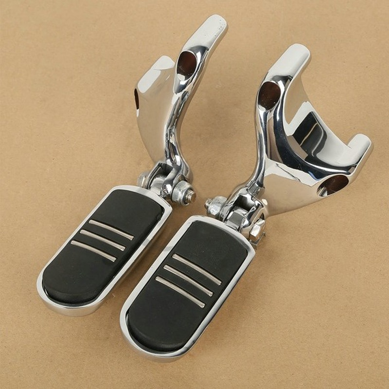 Chrome FootPeg Mount & StreamLiner Footpegs For Harley Sportster 883 1200 04-13