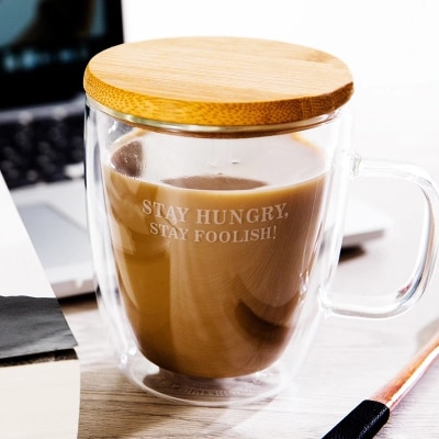 Vaso resistente al calor de doble capa con tapa, cuchara para oficina, taza de café de leche para el hogar con asa, envío gratis