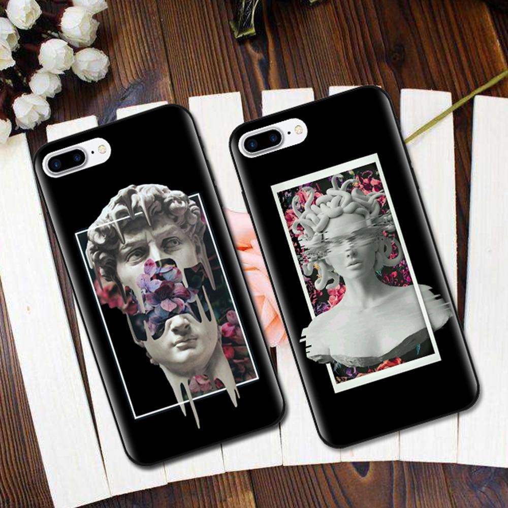 Funda de silicona suave para iphone 7, carcasa de teléfono Medusa Vaporwave Glitch Art, carcasa para iphone 5S SE 6 6s 7 8 Plus X
