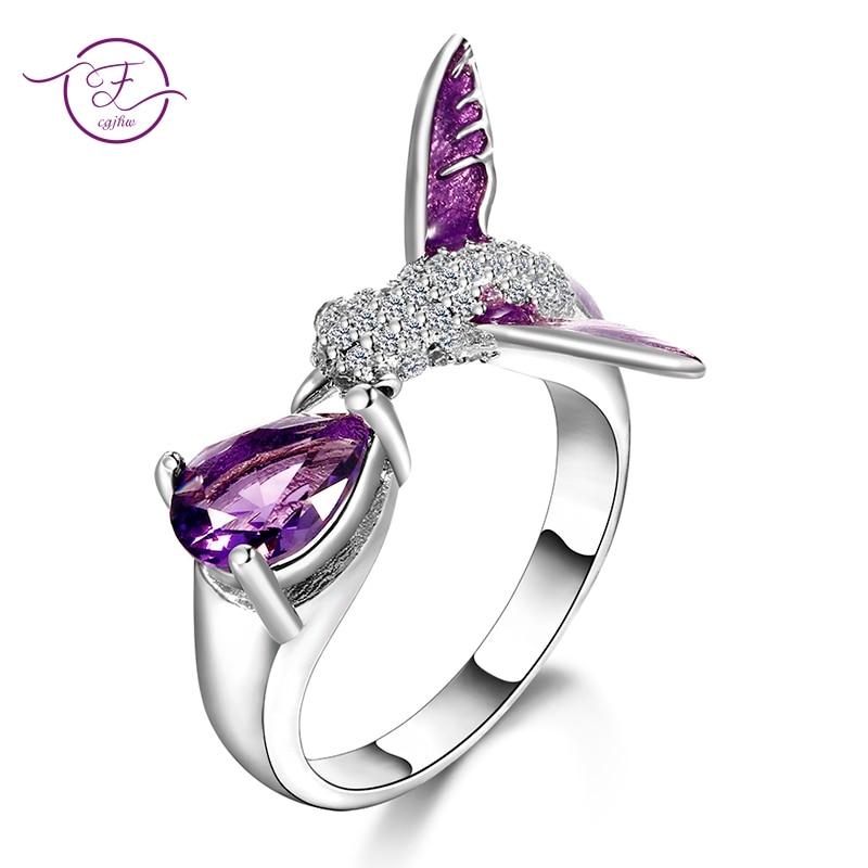 Anillos abiertos ajustables de amatista púrpura con diseño Original de pájaro para mujer, joyería de plata 925 de alta calidad, anillo de boda bohemio