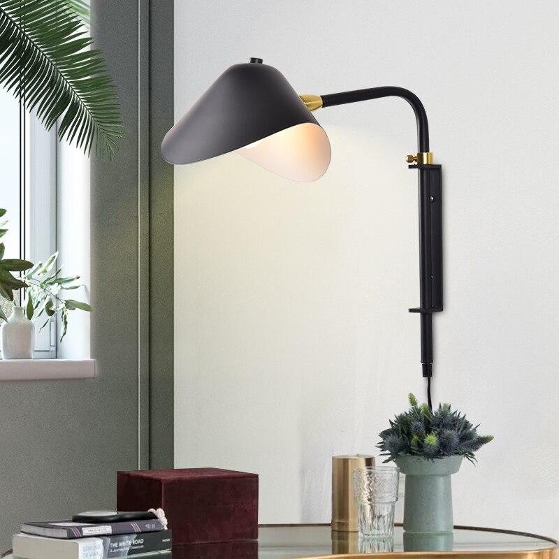 Lámpara de pared nórdica industrial simple telescópica para sala de estar, estudio de cabecera, creativa, con pico de pato, de una sola cabeza giratoria