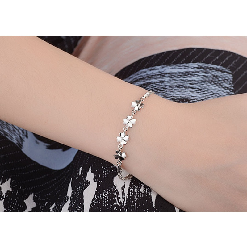 TJP New Fashion 925 Silver Girl Bracelets Jewelry Top Quality Silver Clover Women Anklets Bracelets Accessories Hot Female Bijou