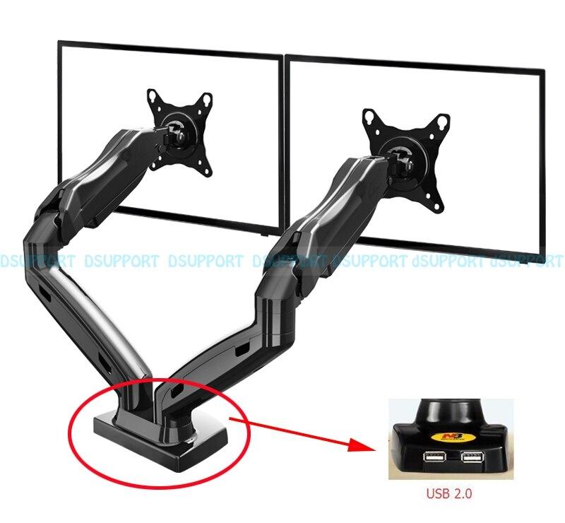 """Mola de gás 360 graus desktop 17 """"-27"""" duplo monitor titular braço com duas portas usb 2.0 movimento completo duplo braço monitor suporte de montagem"""