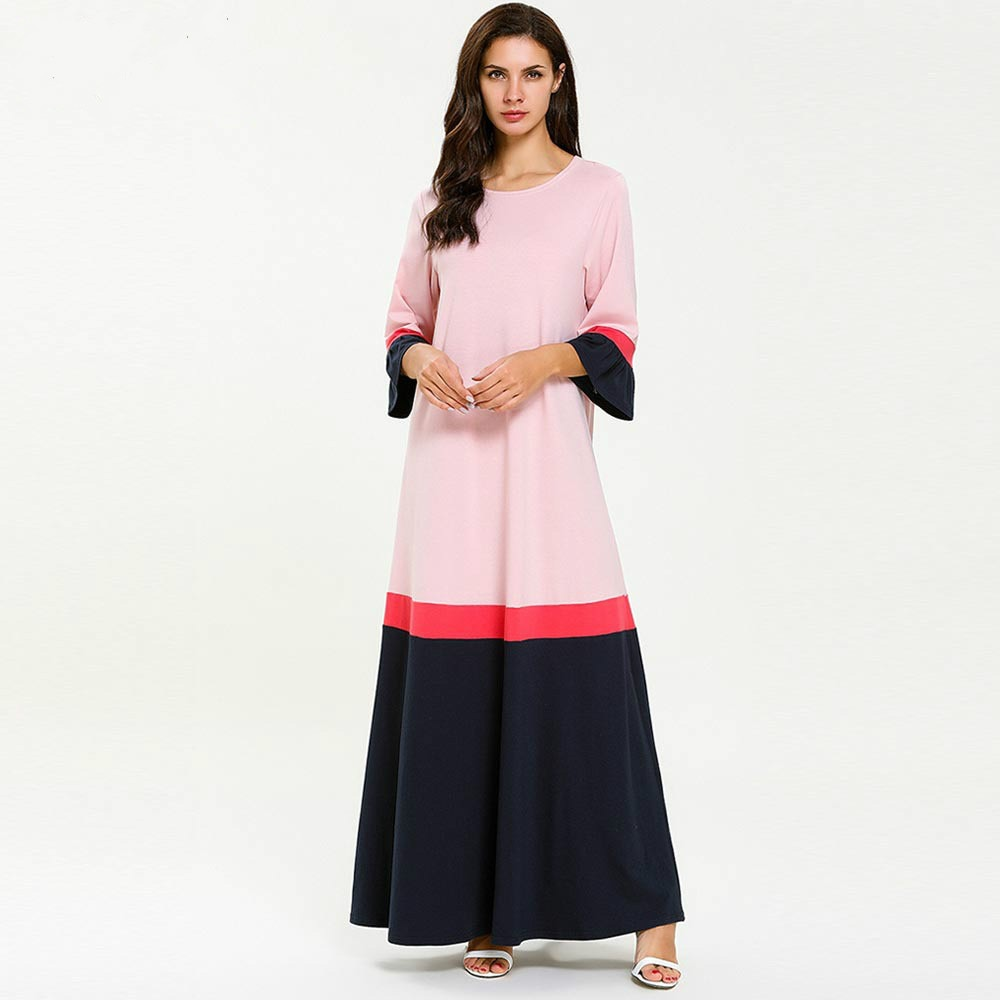 Algodão longa Camisola Plus Size Meia Manga Vestido de Noite Sleepwear Vestido de Muçulmano Abaya Árabe Kaftan Marroquino Casa Vestido Nighty