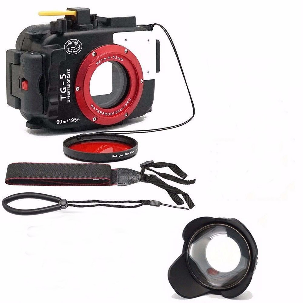 Cámara subacuática Seafrogs 195FT/60M carcasa de buceo impermeable para Olympus TG-5 + lente ojo de pez de 67mm + filtro rojo para regalo