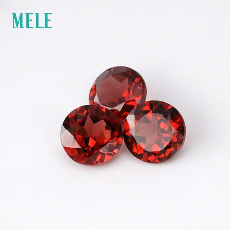 Rojo granate Natural en 5mmX5mm corte redondo para la fabricación de joyas, alta calidad DIY piedra preciosa suelta color rojo intenso fuego con alta calidad