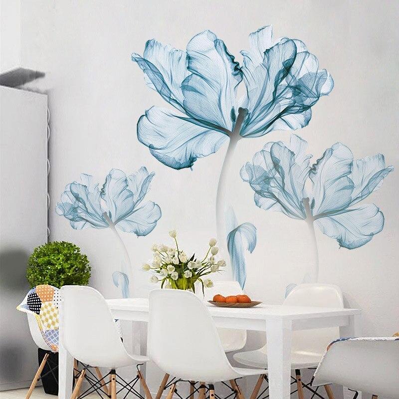 New 110*180 cm Large 3D Blue Flower Living Room Decoration Vinyl Wall Stickers DIY Modern Bedroom Home Decor Poster Wall Art