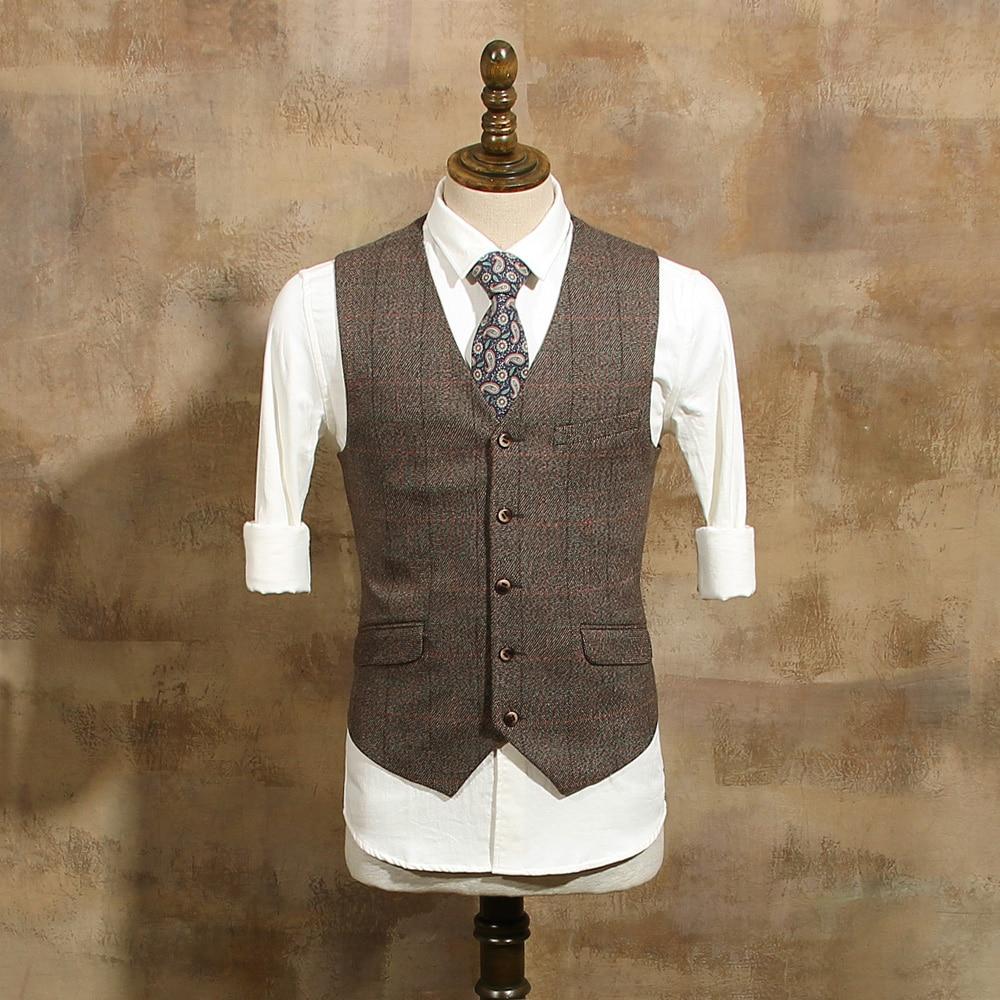 Men Clothing Luxury Vest Men Suit Vest Brown Plaid Blazers Waistcoat Vintage Wool Sleeveless Jacket British Suits Vests CBMJ022