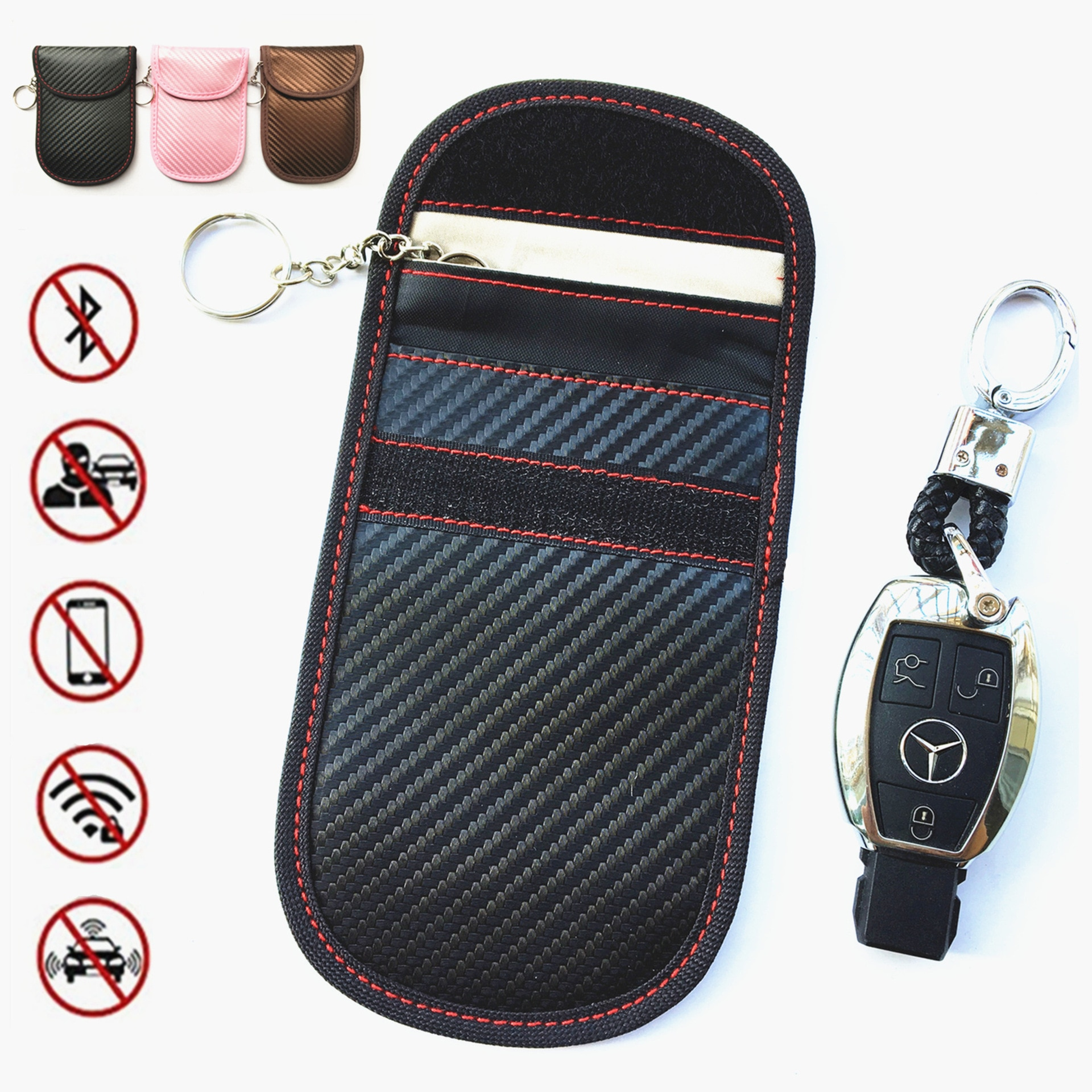 Atualizado saco para chave de carro fob protetor de chave rfid sinal bloqueio anti-roubo bolsa anti-hacking caso bloqueador de fibra de carbono