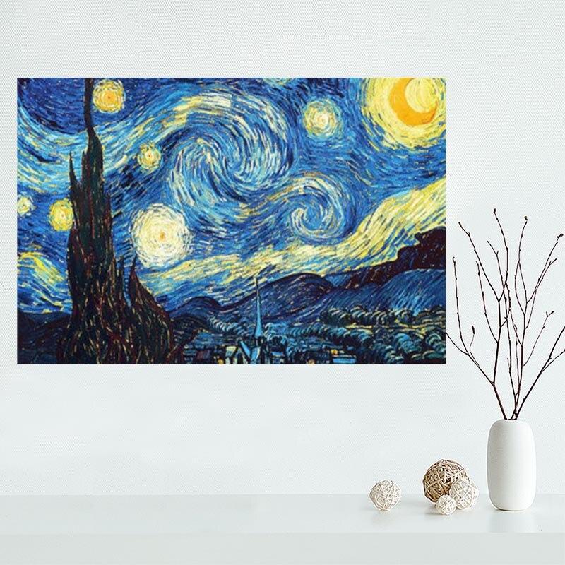 Póster Artístico sobre lienzo de Vincent van Gogh de Noche Estrellada, pintura...