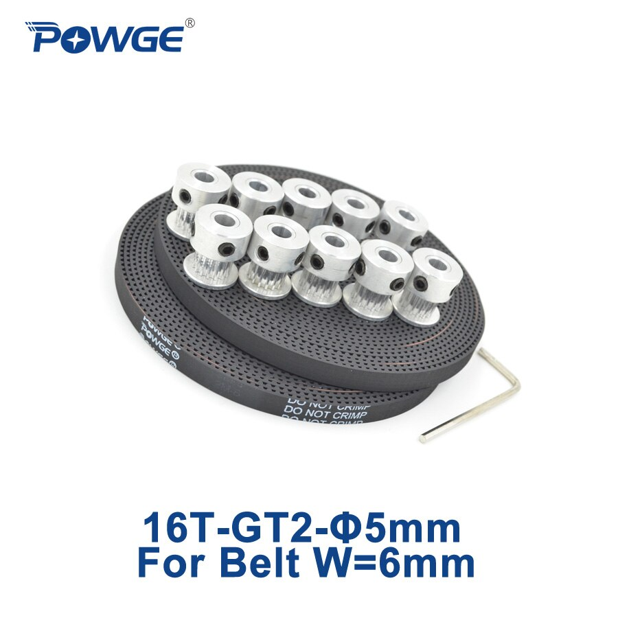 POWGE 10 قطعة 16 الأسنان GT2 متزامن بكرة تتحمل 5 مللي متر + 10 متر GT2 مفتوحة توقيت حزام عرض 6 مللي متر 2GT صغيرة رد فعل عنيف (16 الأسنان) 16 T