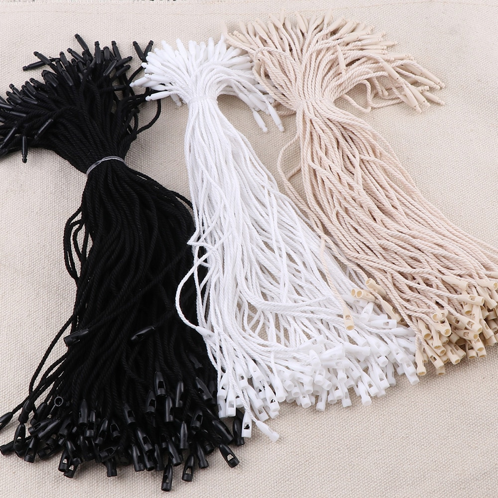 100Pcs Medium Bullet Clothes Cotton Tag Rope Cords Hanging Tablet For Garment Bag Tags Cards, DIY Clothing Accessories