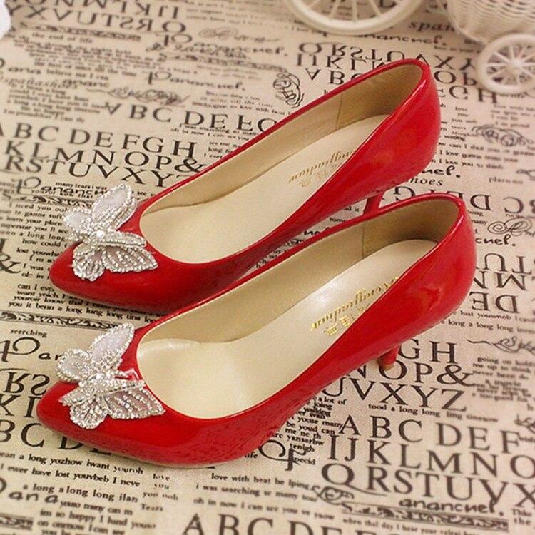 Zapatos de boda mariposa de oro rojo Bowknot tacón alto Slip-on zapatos de mujer poco profundos para fiesta banquete vestido de noche dama de honor