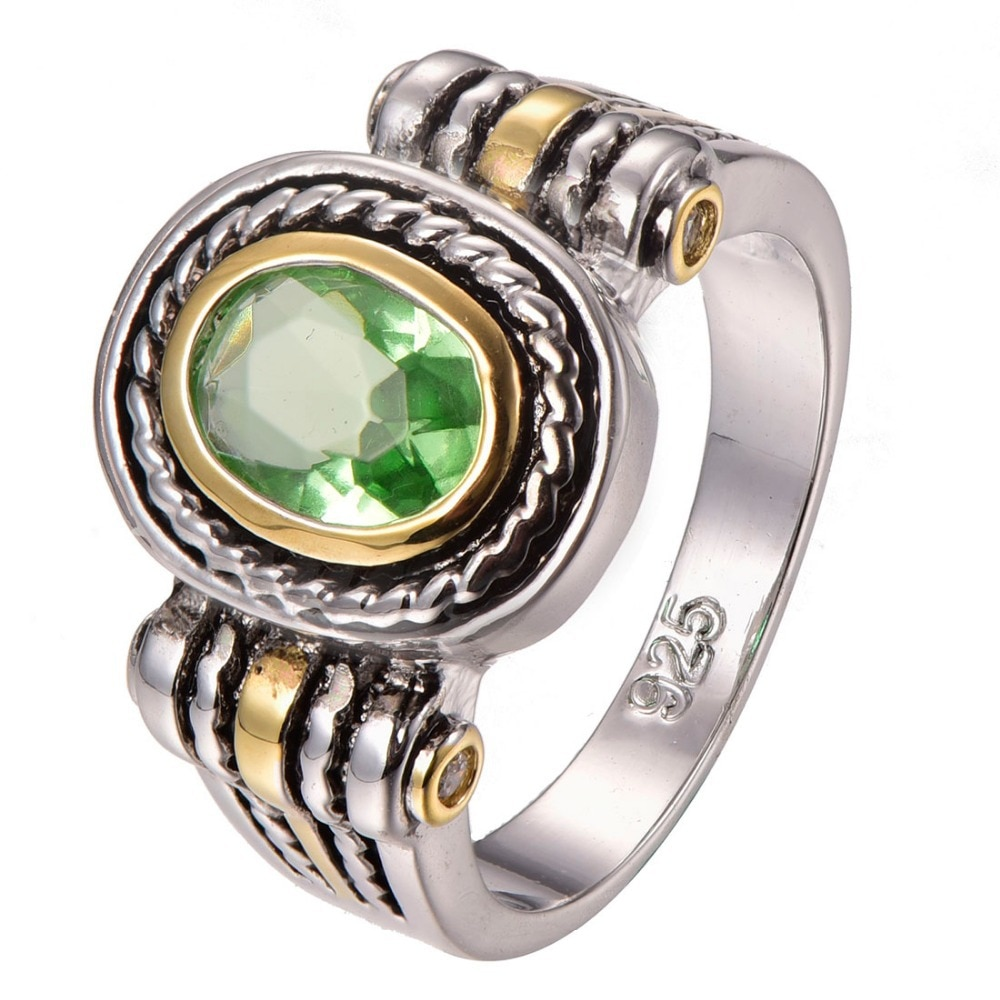 Más peridoto de Plata de Ley 925 anillo de plata tamaño 5 5 5 6 6 7 8 9 F1311