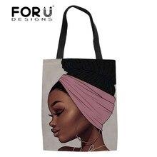 FORUDESIGNS sacs fourre-tout en lin femmes noir Art africain fille impression sac à provisions dames pliable Shopper sacs pour femmes Eco sac