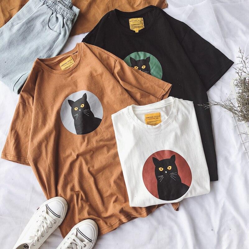 Harajuku gato de dibujos animados de algodón lindo de manga corta Camiseta femenina de verano de moda bf pareja de gran tamaño M-3XL casual nueva camiseta