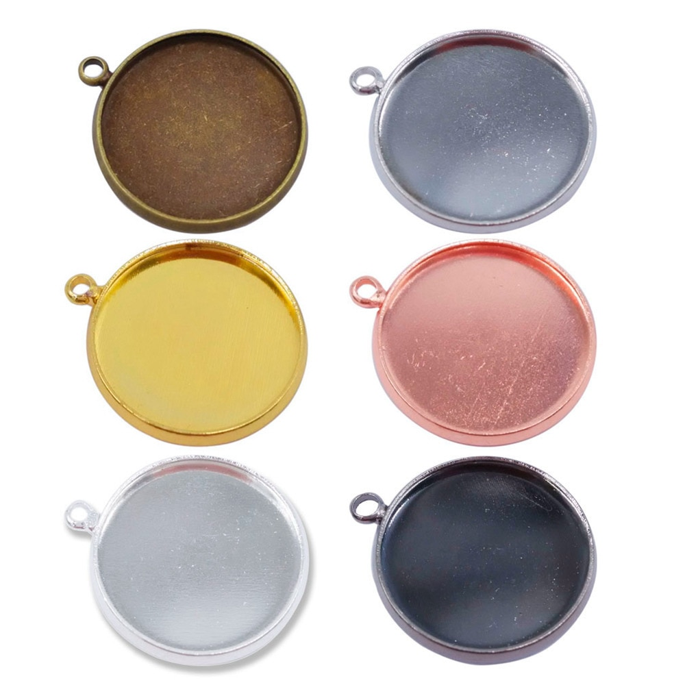 1000piece 10mm 12mm 14mm 16mm 18mm 20mm 25mm Round Bezel Cameo Cabochon Setting Charm Pendant Blanks Blank Pendant Trays PT13
