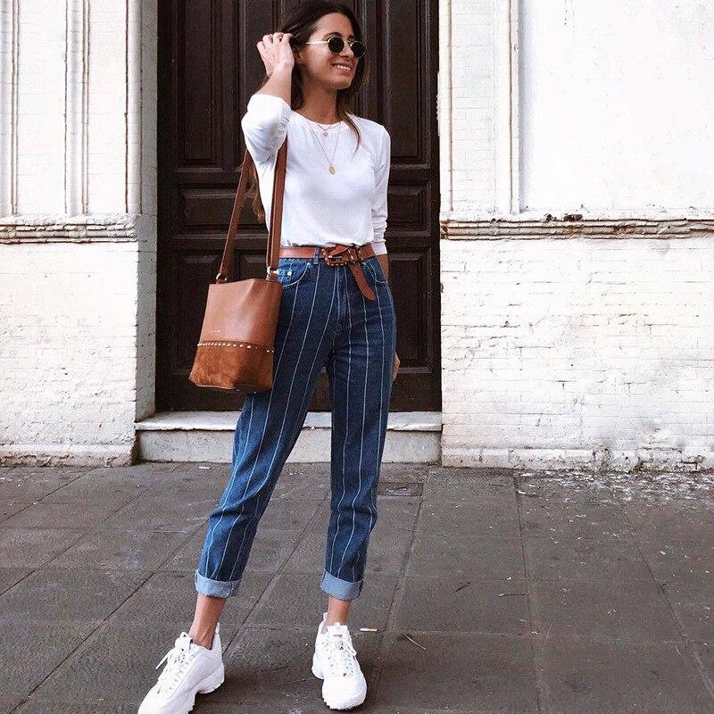 Vintage a rayas Jeans Mujer cremallera arriba Skinny Jeans para mujeres Patchwork alta cintura Denim Slim Blue lápiz Jeans Feminino