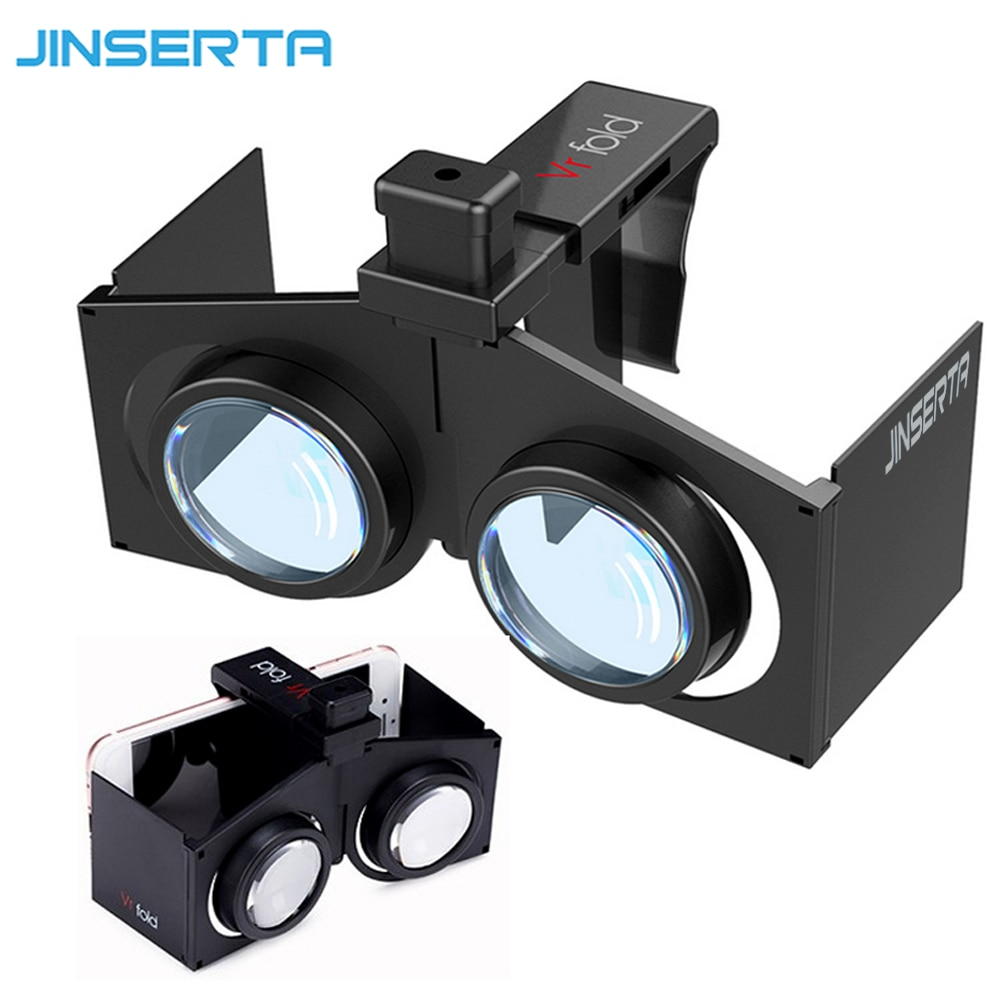 JINSERTA VR Fold V1 Google Cardboard VR BOX portátil plegable VR Realidad Virtual gafas 3D películas juegos para Android IOS