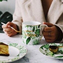 Лучшие золотые штрихи зеленый Plat новый дизайн фарфоровая кофейная латте кружка печать чашка для чая керамическая чашка костяного фарфора посуда для воды