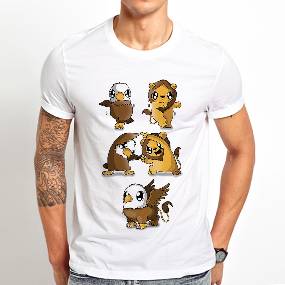 Camiseta divertida de la fusión del león del Águila del grifo para hombres 2019 verano nuevo blanco casual homme cool goku Vegeta fusión de la danza camiseta anime