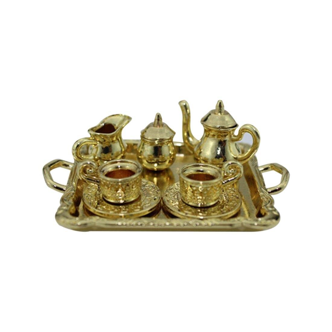 1: 12 mueble miniatura para casa de muñecas juego de vajilla de comedor 8 Uds juego de té de Metal taza de tetera plato de longitud 6,5 cm