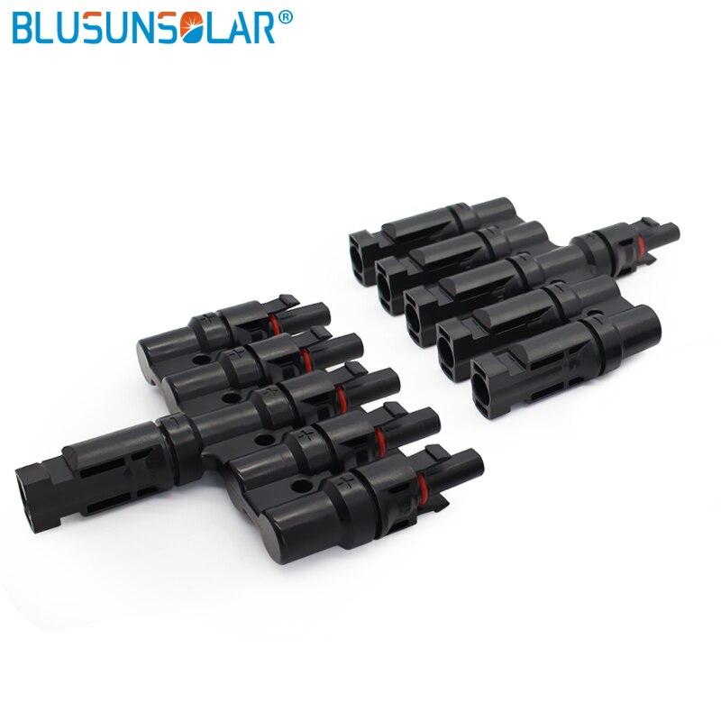 Blusunsola 50 زوج/وحدة مقاوم للماء أنثى/ذكر 5 في 1 موازية فرع موصل الطاقة الشمسية موصل ل نظام لوحات شمسية TF0168