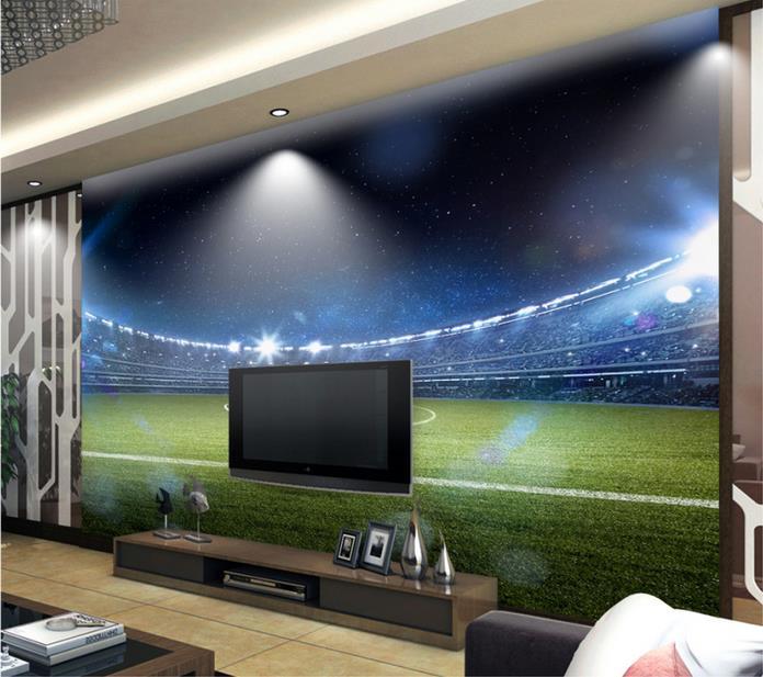 Papel tapiz estereoscópico 3d personalizado de campo de fútbol de alta definición para sala de estar papel tapiz mural 3D para dormitorio
