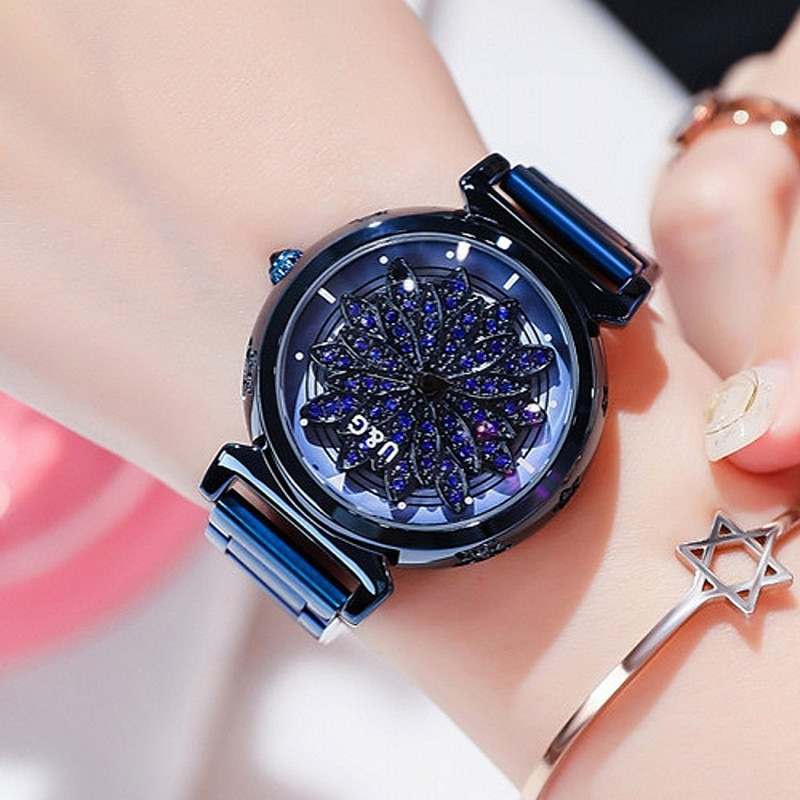 High  Top Quality Rotation Women Watches Lady Luxury Rhinestion Casual Quartz Watch Woman Stainless Steel Watch reloj mujer enlarge