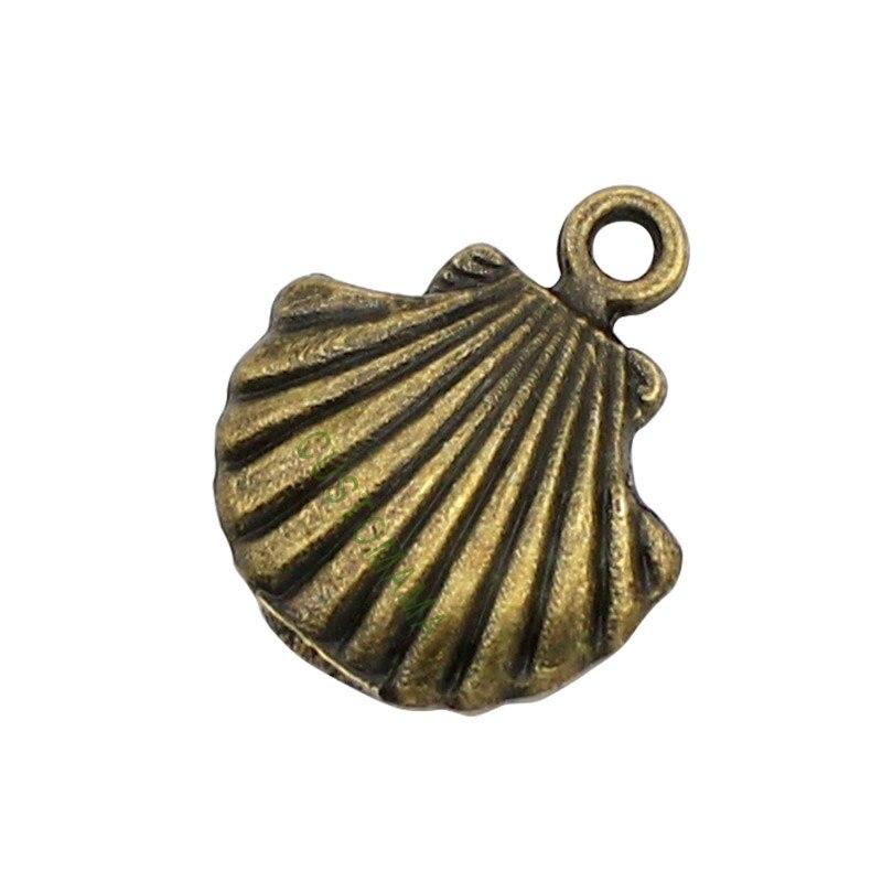 100pcs-concha de mar encantos de bronce antiguo almeja Shell encanto colgante 18x16mm