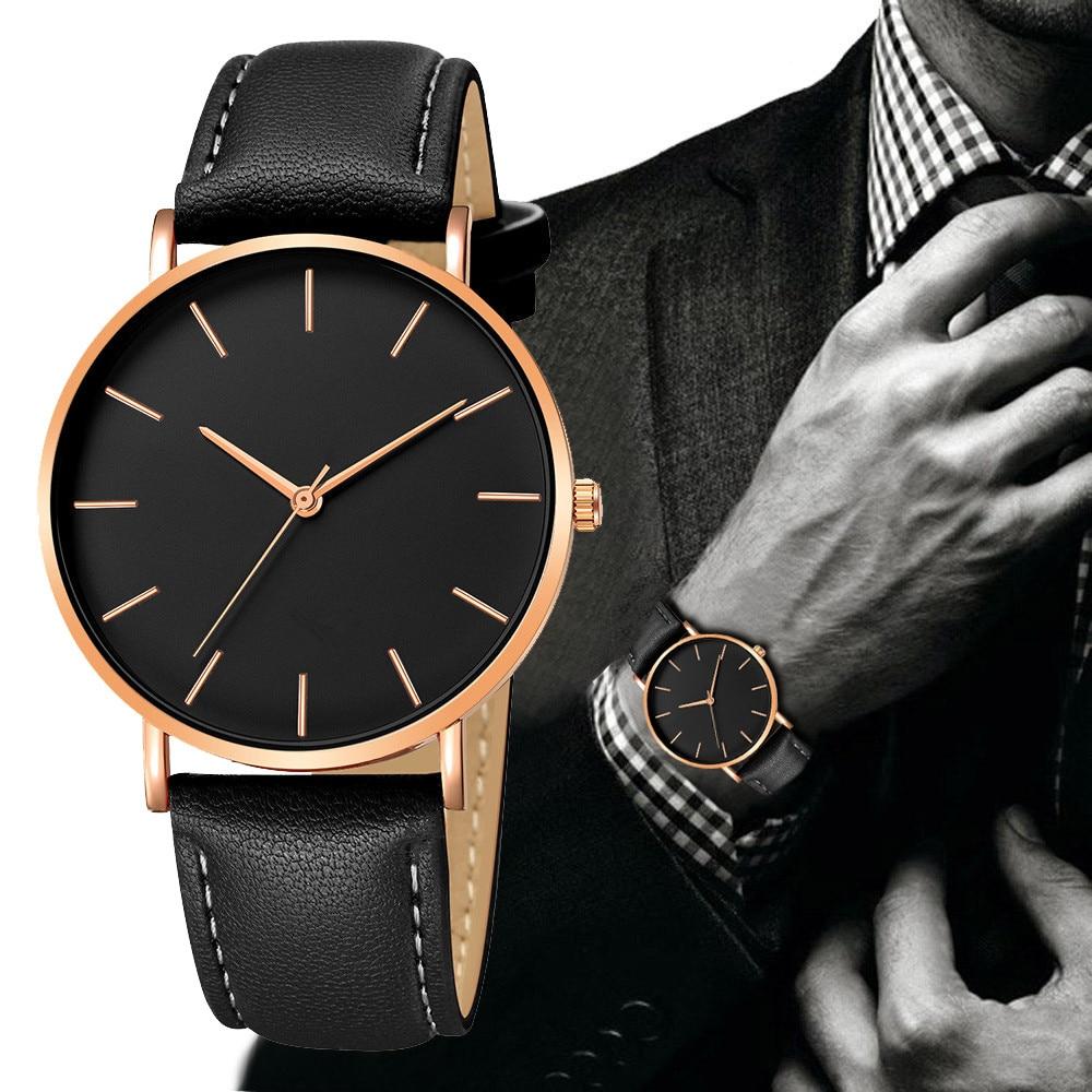 De cuero de los hombres de moda Reloj de cuarzo Reloj de hombres de negocio superior de la marca de lujo de relojes Reloj Masculino Reloj Hombre 2019