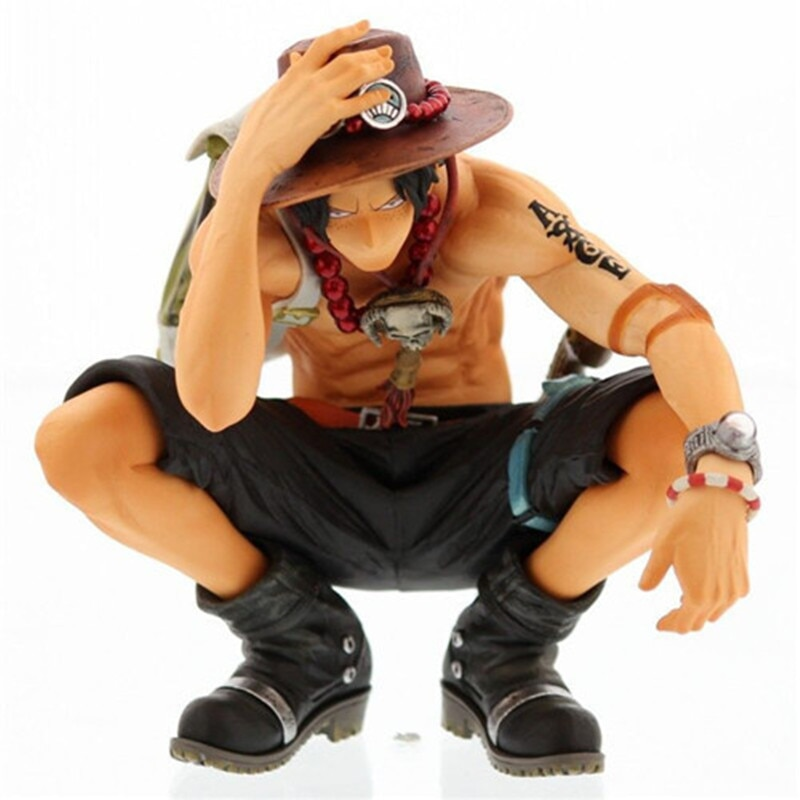 """6.29""""ONE PIECE The Straw Hat Pirates Luffy Brothers Portgas.D.Ace Squatting Position PVC Action Figures Toy 16CM BOX T137"""