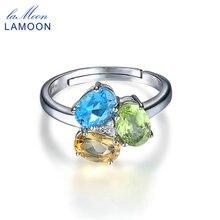 LAMOON Real S925 925-Sterling-Silver-Jewelry Natural Gemstone Oval Topaz Peridot Citrine Adjustable Ring Fine Jewelry RI062