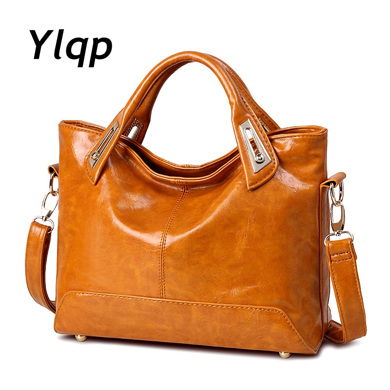 Женская кожаная сумка, большая Повседневная сумка на плечо, 2019