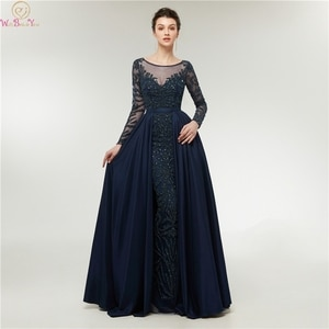 2020 Long Sleeve Mermaid Evening Dresses Long Women O Neck Luxurious Beading robe de soiree Formal Party Gowns Walk Beside You