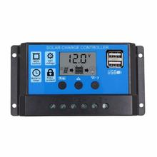 12V/24V HD LCD Display Auto Arbeit Solar Laderegler 10A/20A/30A PWM Dual USB Ausgang Solarzelle Panel Ladegerät Regler