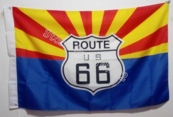 Route 66 bandera del Estado de Arizona Venta caliente mercancías 3X5FT 150X90CM Custome Banner latón agujeros de metal