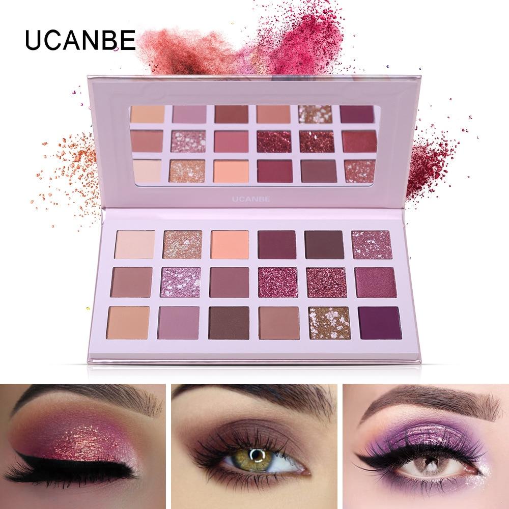UCANBE Shimmery Matte paleta de maquillaje de sombra de ojos 18 rosa de color dorado ojos paleta de maquillaje impermeable sombra de ojos Natural de larga duración