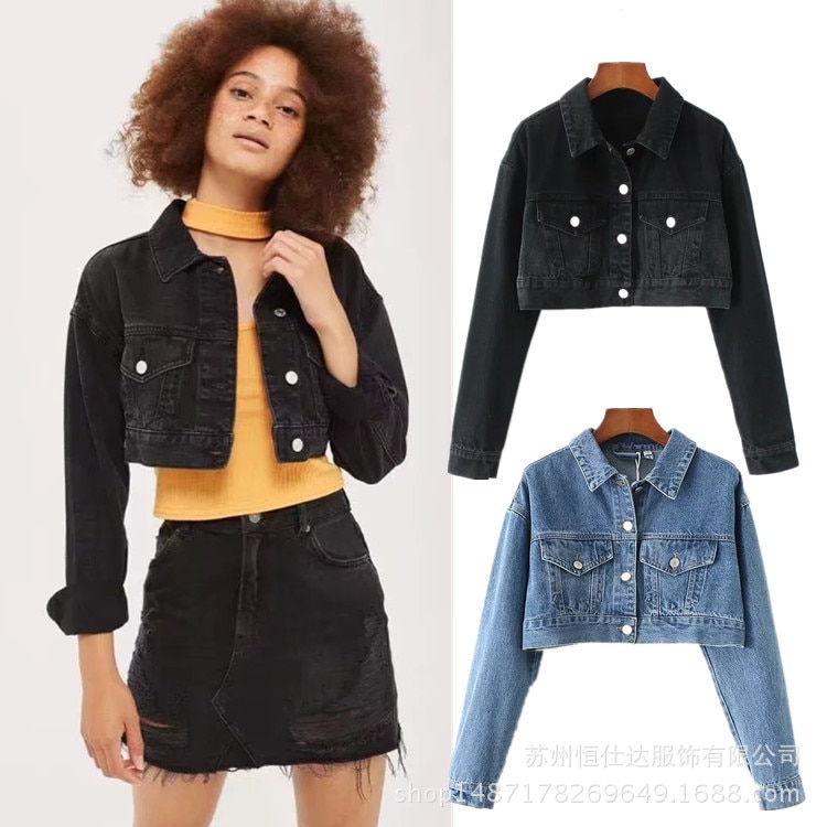 Chaqueta de mezclilla para mujer 2018 Casual nuevo otoño abrigo de manga larga bolsillo Turn Down Collar lavado azul/negro Chaquetas cortas