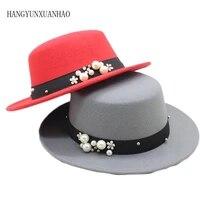 parent child wool boater pearl flat top hat womens felt wide brim fedora laday prok pie chapeu de feltro bowler gambler top hat