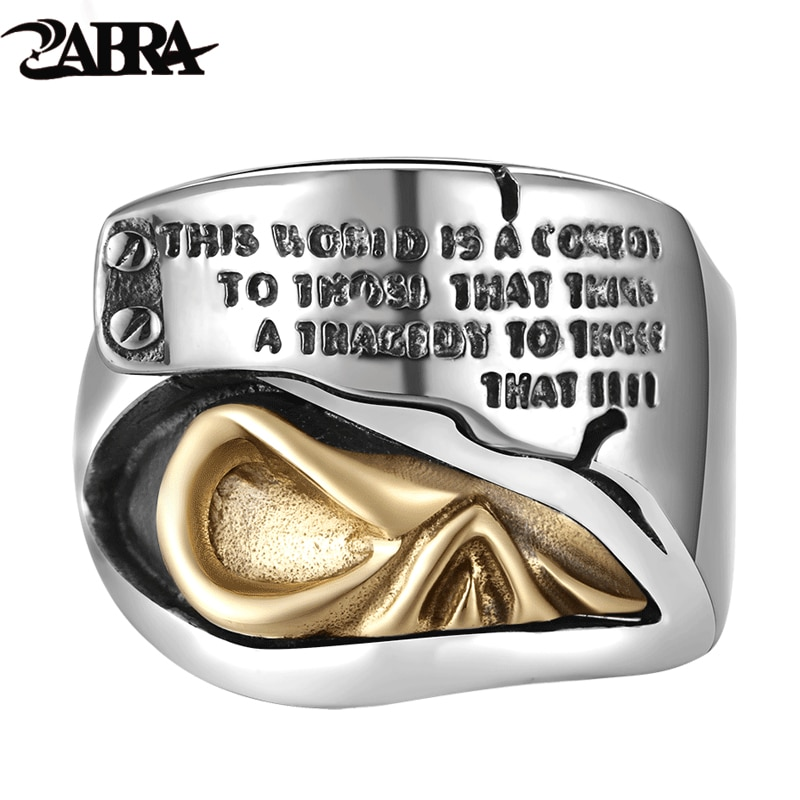 ZABRA Real 925 Sterling Silver Signet Rings For Men Golden Skull Ear Punk Rock Lettering Ring Mens Biker Heavy Jewelry