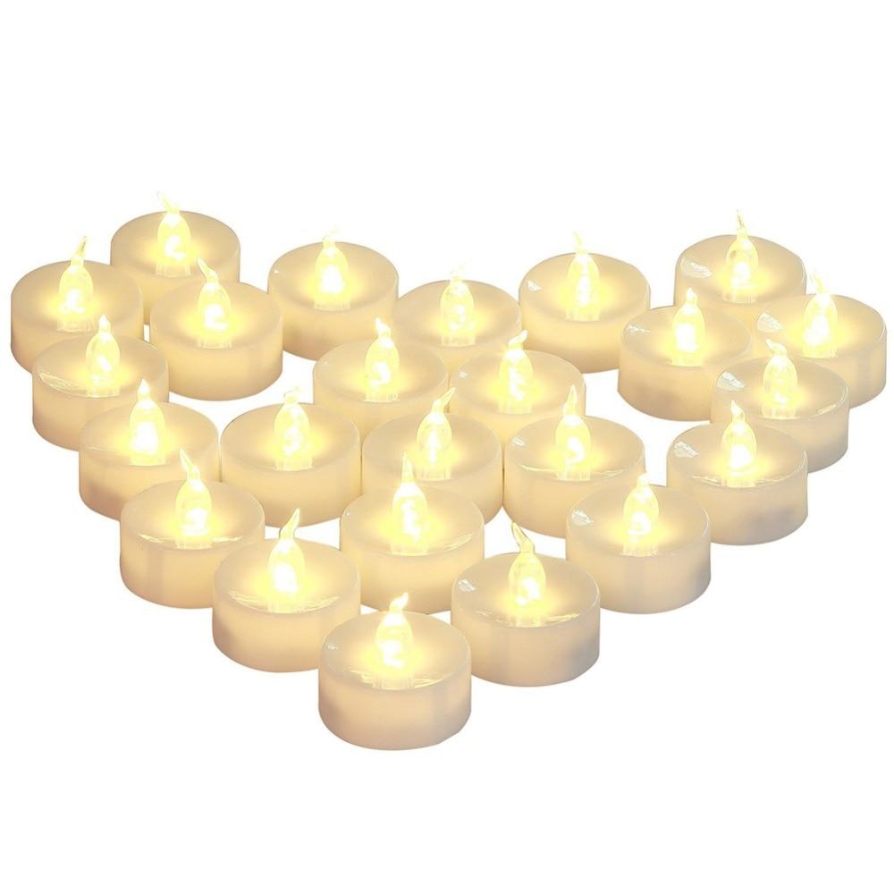 Luces led sin llama para decoración navideña, luces de té bougie, 12...