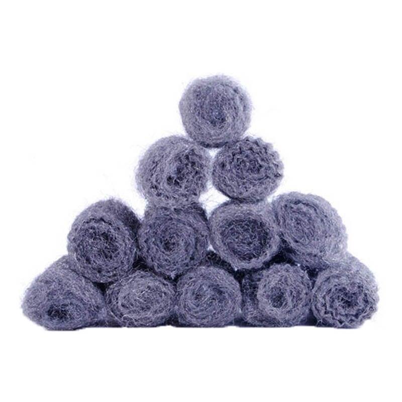 12pcs/lot Steel Wool Degreasing Ball Pot Cleaner Sponge Steel Wire Scourer Ball Brush for Cooking Utensil Super Detergent Tool