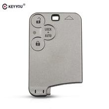 KEYYOU For Renault Laguna Smart card Cover Case Keyless Entry Fob 3 Button Remote Smart Car Key Shell Key Card