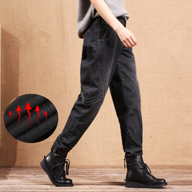 Plus Size S-3XL Winter Jeans Trousers Casual Denim Jeans Women Plus Size Thicken Jeans Female Harem Pants Feet Trousers C1650