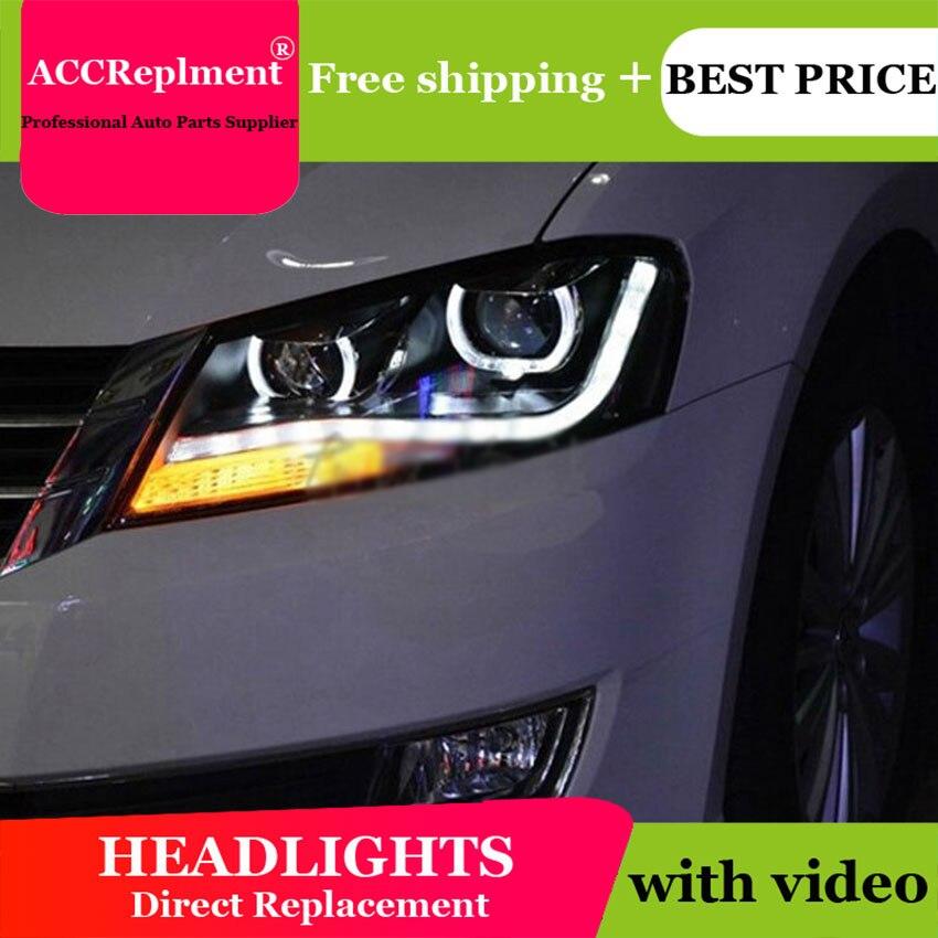 AUTO.PRO 2011-2015 para faros delanteros vw passat b7, lentes de bi xenon con estilo para coche, barra de guía LED DRL H7 de xenón para faros delanteros, luces de estacionamiento
