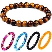 2019 hot sale obsidian tiger eye stone lava stone bead powder crystal handle lava natural stone women bracelet for men jewelry